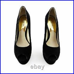 Michael Kors Black Suede Open Toe Platform Pumps Shoes sz 7.5 37.5
