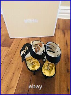 Michael Kors Black beverly Leather shoes Heel Platform Strap Sandals Size 6.5 M