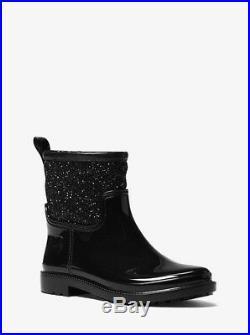 Michael Kors Blakely Short Rain Ankle Bootie 8 Black Glitter Logo Boots Display