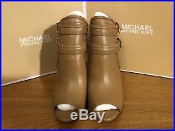 Michael Kors Blaze Open Toe Leather Bootie Brown Tan BNIB UK7