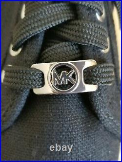 Michael Kors Boerum Black Mk Silver Logo Platform Sneakers 7.5 I Love Shoes