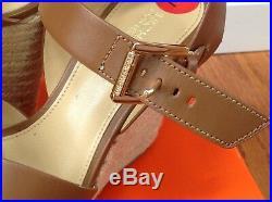 Michael Kors Brown Leather Gold Logo Buckle Platform Sandal Shoes Size 6M New