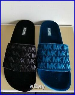 Michael Kors Camden Mk Logo Embossed Teal Velvet Slides Slippers 8 I Love Shoes