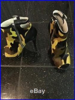 Michael Kors Camo Print Scuba dress, lg zip clutch haircalf purse, and shoes