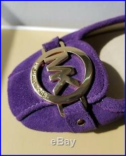Michael Kors Classic Fulton Purple Iris Suede Gold Mk Logo Moccasin I Love Shoes
