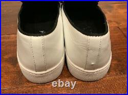 Michael Kors Collection White Val Runway Slip-On Shoes With Black Bows, Size 40