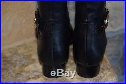 Michael Kors Color Block Black Mocha Harland Leather Tall Riding Boots new SALE