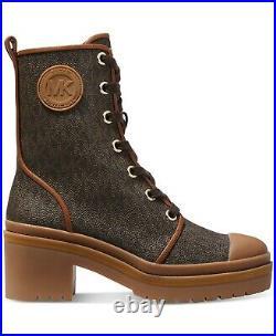 Michael Kors Corey Iconic Mk Print Combat Biker Boots Us 9 9.5 10 I Love Shoes