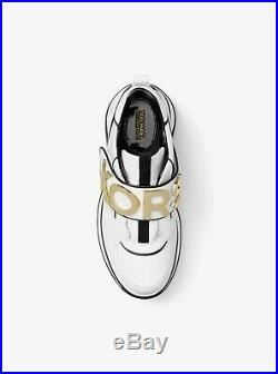 Michael Kors Cortlandt Trainer Leather 43R9HOFS1L Optic White/Black Women's Shoe