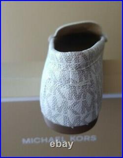 Michael Kors Crawford Moccasins MK SIG Shoes Vanilla Women's SZ 10M New