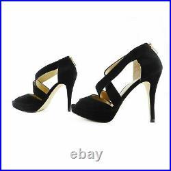 Michael Kors Criss Cross Black Suede Platform Sandals Shoes sz 7 37