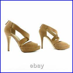 Michael Kors Criss Cross Tan Suede Platform Sandals Shoes sz 7 37