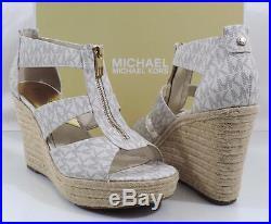 Michael Kors DAMITA WEDGE Espadrille Sandals MK Mini Logo PVC Vanilla Size 10