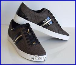 Michael Kors Damen Sneakers CATELYN STRIPE Größe 40 US10M braun MK SIGNATURE