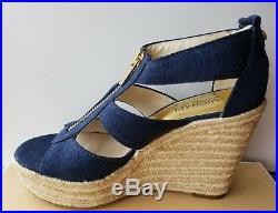 Michael Kors Damita Gold Mk Zipper Navy Espadrille Wedges Us 9.5 I Love Shoes