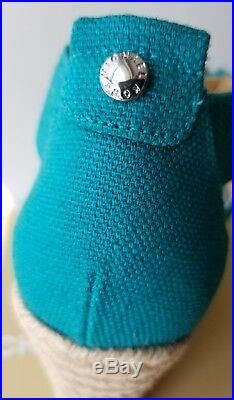 Michael Kors Damita Iconic Mk Zipper Tile Blue Espadrilles Wedges 8 I Love Shoes