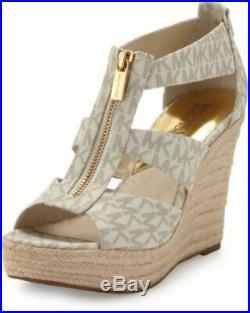 Michael Kors Damita Mk Mini Logo Pvc Zipper Espadrille Wedges Us 5 I Love Shoes