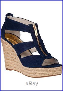Michael Kors Damita Wedge Navy Zipper Logo Open Toe Sandal Shoes Multi Sizes