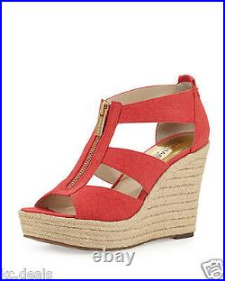 Michael Kors Damita Wedge Watermelon Womens Platform Open Sandal Shoes Multisize