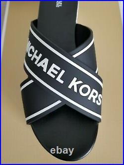 Michael Kors Demi Sport Mk Logo Pvc Rubber Sandals Slides Us 11 42 I Love Shoes
