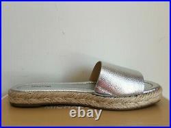 Michael Kors Dempsey Mk Logo Silver Espadrille Perfect Slides Us 7 I Love Shoes