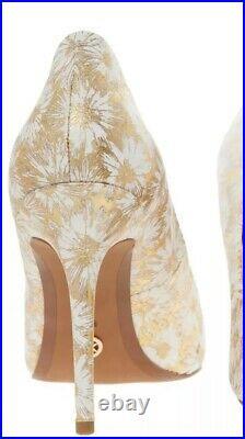 Michael Kors Dorothy Floral Stiletto Heels Shoes Uk 9 Gold Stunning New