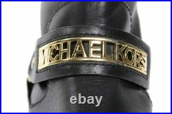 Michael Kors Essex Iconic Black Gold Logo Moto Biker Boots 5.5 10 I Love Shoes