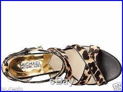 Michael Kors Evie Platform Natural Leopard Haircalf Women Black Sandal Multisize