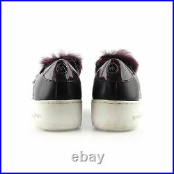 Michael Kors Faux Fur Black Leather Sneakers Shoes sz 7 37