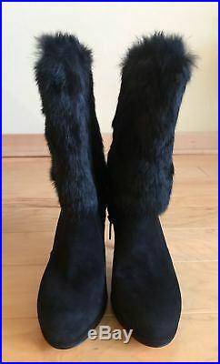 Michael Kors Faye Fur Boots, Black, Size 7