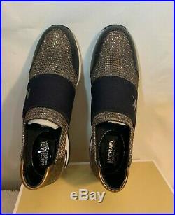 Michael Kors Felix Trainer Black Bronz Silver Glitter Chain Mesh/mini MK Size 8