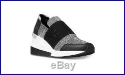 Michael Kors Felix Trainer Black Silver Glitter Chain Mesh/mini MK 7