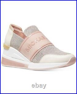 Michael Kors Felix Trainer Extreme Sneaker Shoe Slip On Pink Bling Size 7.5 NIB