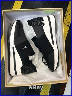 Michael Kors Felix Trainer Satin Black Silver Glitter Chain Mesh Sneakers 38.5
