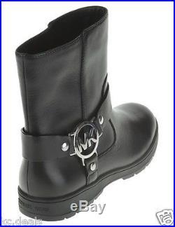 Michael Kors Fulton Biker Booties Black Leather Ankle Boots Shoes Multisizes