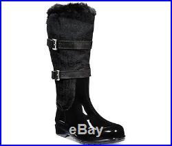 Michael Kors Fulton Black MK Monogram Jacquar Mid Rainboots Boots Shoes 8 10 NIB