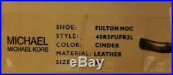 Michael Kors Fulton Cinder Saffiano Mk Silver Logo Moccasins I Love Shoe