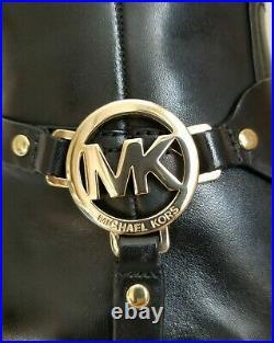 Michael Kors Fulton Harness Gold Mk Logo Black Mocha Riding Boots I Love Shoes