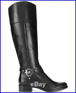 Michael Kors Fulton Harness MK Black Riding Boots Shoes Multi Size Wide Calf NIB