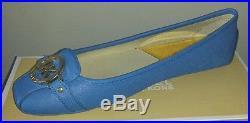 Michael Kors Fulton Heritage Blue Saffiano Sexy Mk Gold Logo Moccasins Love Shoe