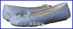 Michael Kors Fulton Moc Blue Light Sky Mk Silver Logo Moccasins I Love Shoes