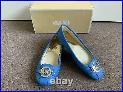 Michael Kors Fulton Moccasin Leather Flat Shoes Heritage Blue Size UK 5.5 / US 8