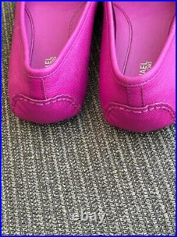 Michael Kors Fulton Moccasin Raspberry Bright Hot Pink Leather Women's Shoes 7