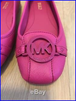 Michael Kors Fulton Moccasin Raspberry Pink Leather Women's Shoes 7 NIB SOLD OUT