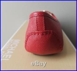 Michael Kors Fulton Red Scarlet Sexy Mk Silver Logo Moccasins I Love Shoes