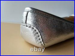 Michael Kors Fulton Silver Leather Mk Logo Moccasin Loafers 6 6.5 7 I Love Shoes