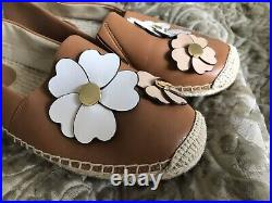 Michael Kors Genuine Leather Tan Brown Espadrilles Shoes Moccasins Size 6 39 New