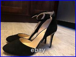 Michael Kors Georgia Black Suede Gold Ankle Strap Stiletto Pumps Shoes Size 9