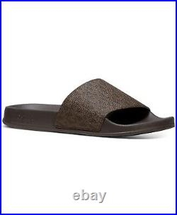 Michael Kors Gilmore Classic Brown Mk Logo Pvc Pool Slides 9 10 11 I Love Shoes