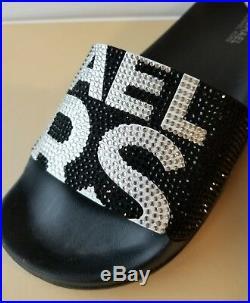 Michael Kors Gilmore Iconic Mk Logo Black White Crystals Slides 5 8 I Love Shoes